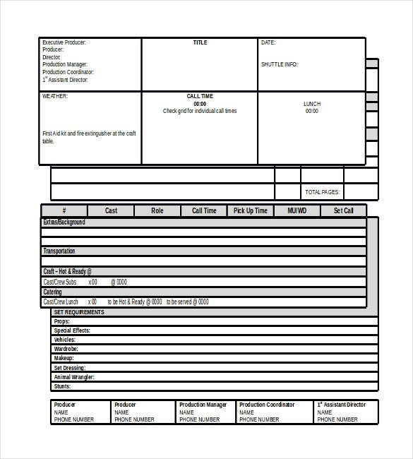 film production call sheet templates