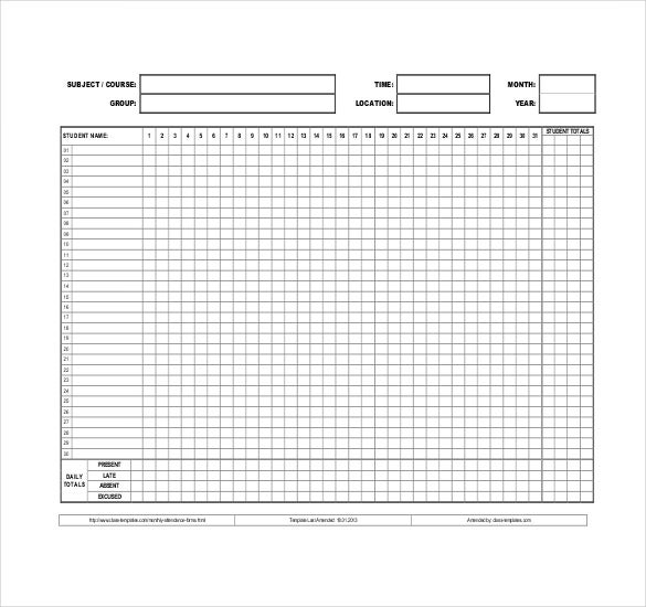 monthly attendace sheet template