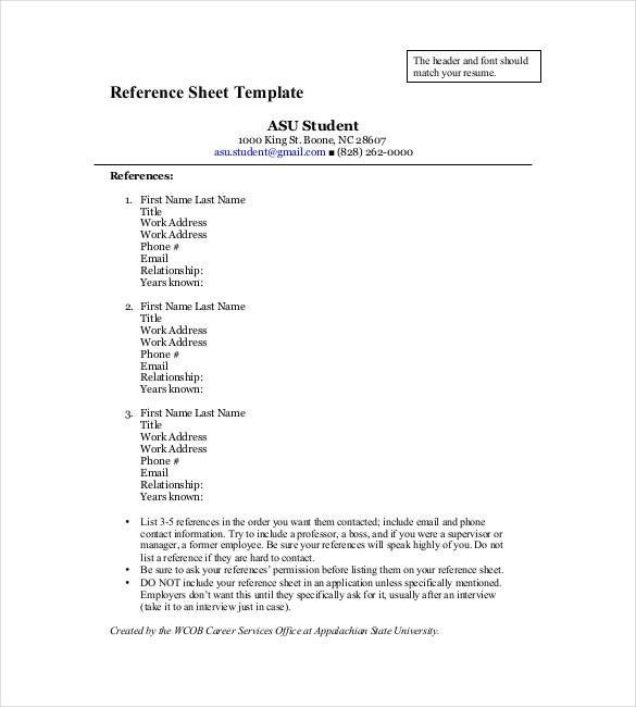 reference sheet template pdf