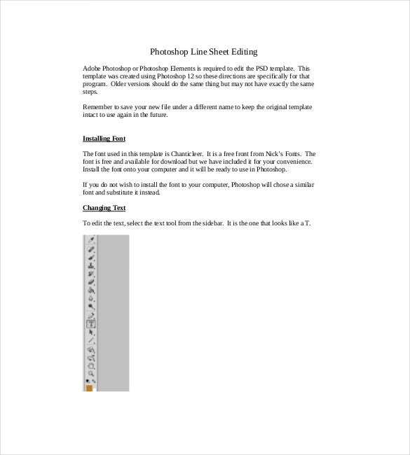 photoshop line sheet editing