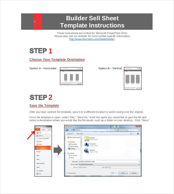 builder sell sheet template instructions
