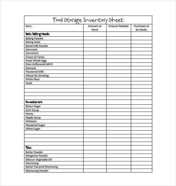 food storage inventory sheet pdf free download