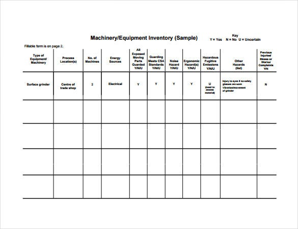 machinery equipment inventory pdf template free download