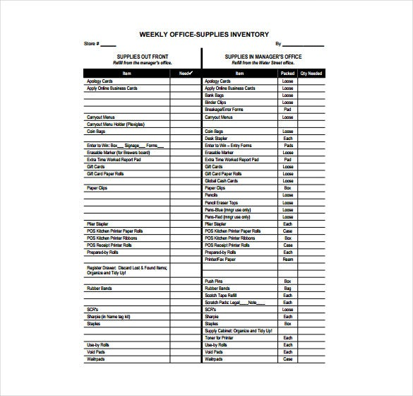 sample inventory list for office supplies office supply checklist template excel