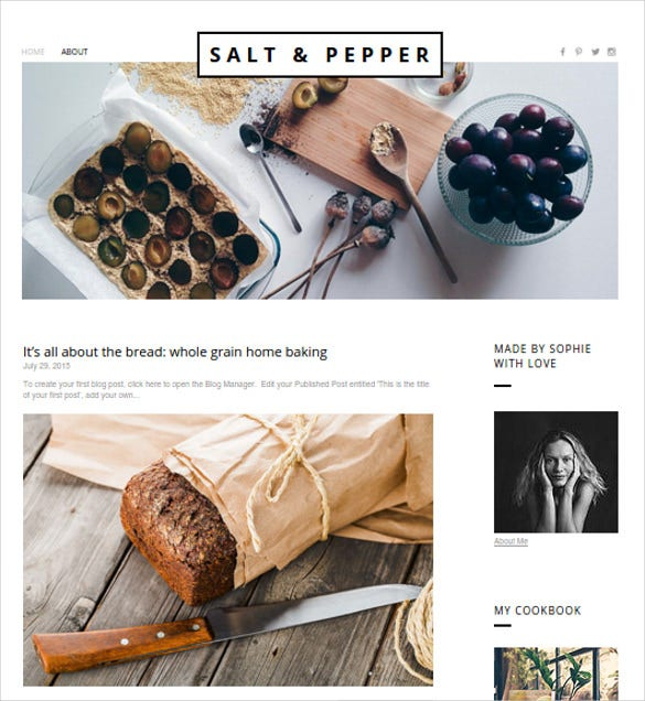 free salt pepper food blog template