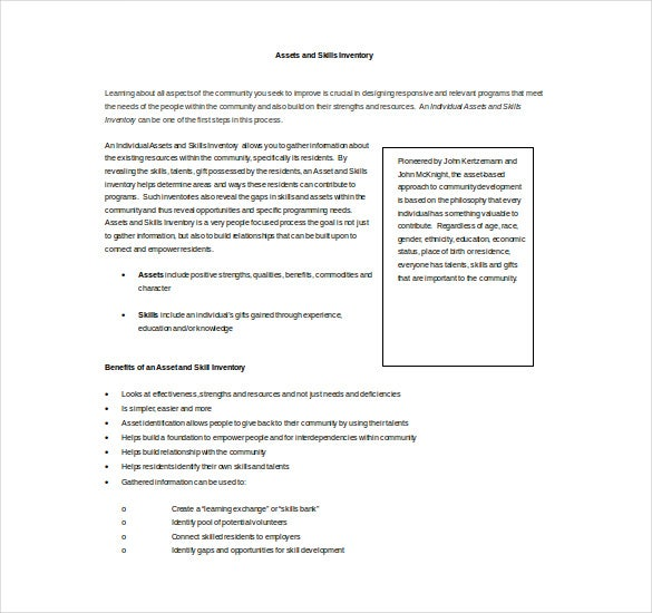 assets and skills inventory word template free download