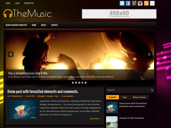 free music blog theme