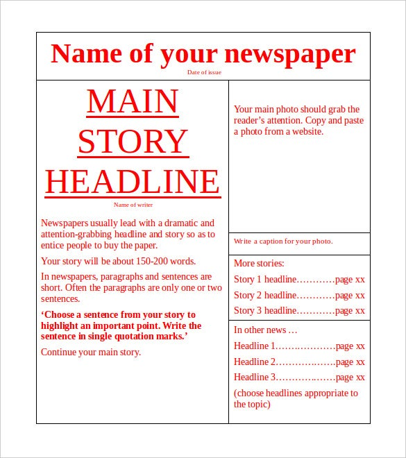Free Download Newspaper Template Word Doc  Picture Template For Word