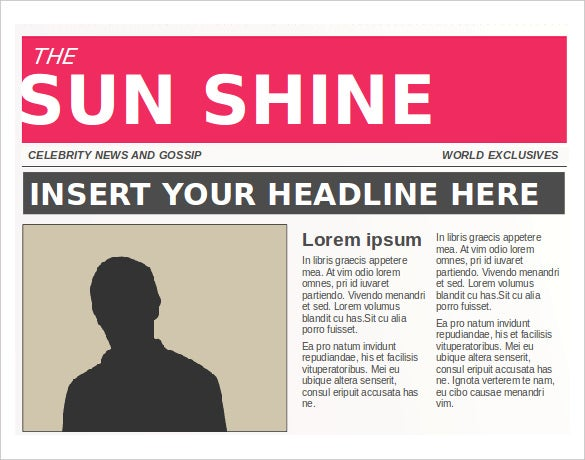 Sunshine Editable News Paper Template Free PPT Format