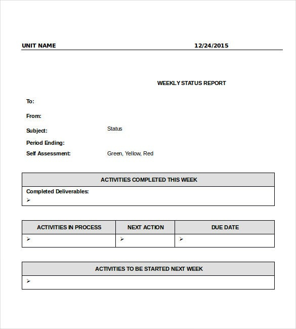 weekly status report template doc