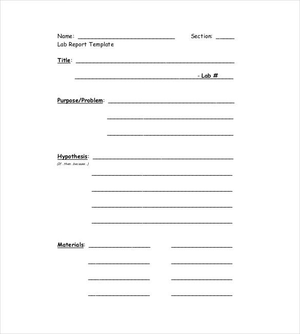 free lab report templates