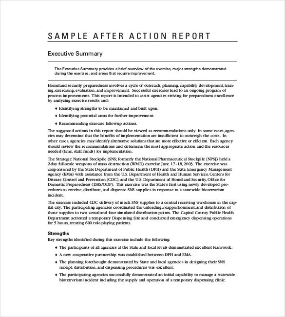 sample after action report