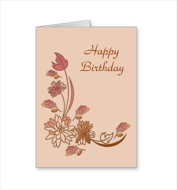 autumn flowers happy birthday card template download