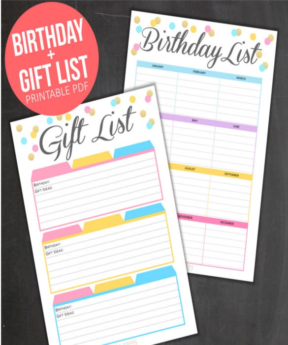 printable birthday list template