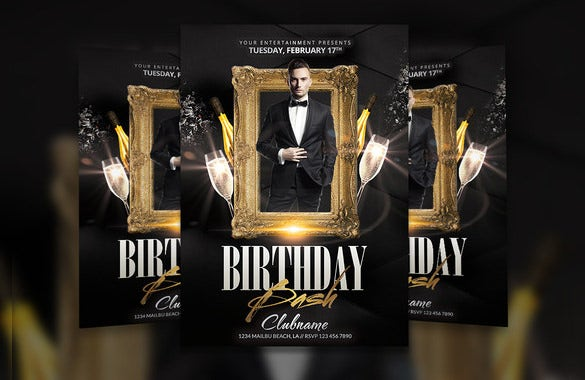 psd birthday bash flyer template download