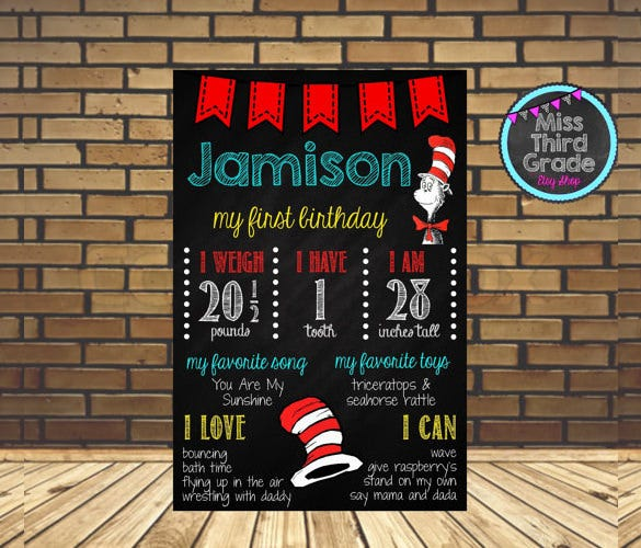 first birthday poster template download