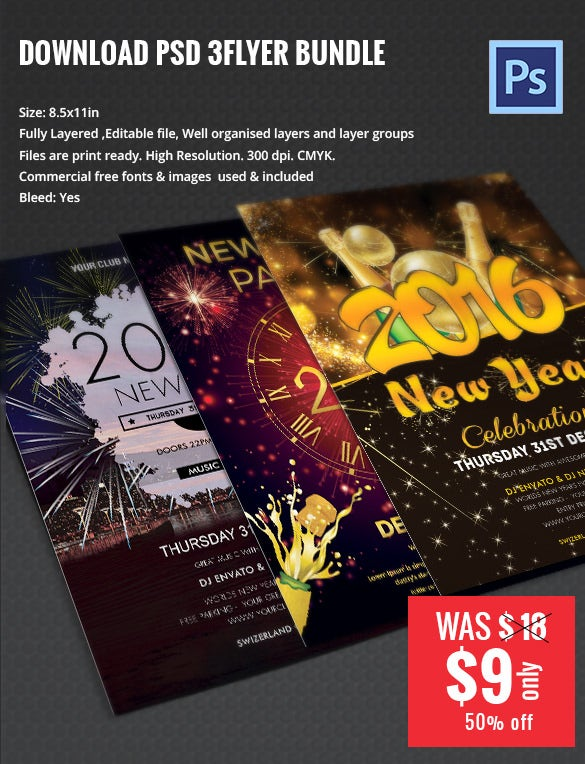 new year flyer bundle mockup