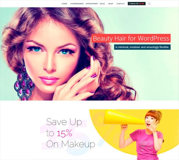 wordpress php theme for hair beauty