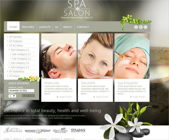 free spa salon business joomla php template