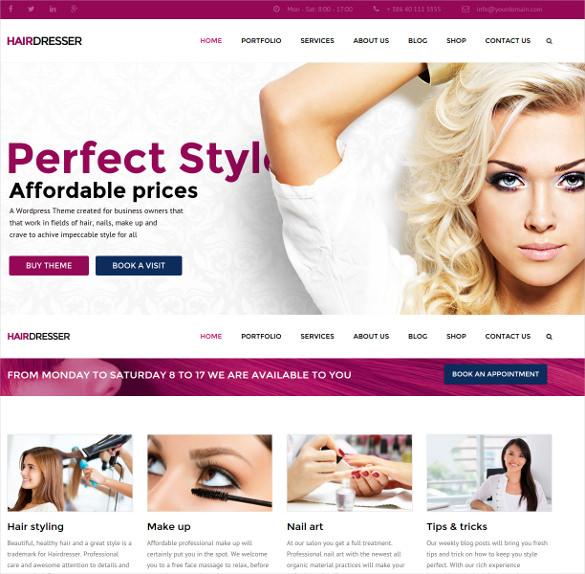 hairdresser hair salon wordpress php theme
