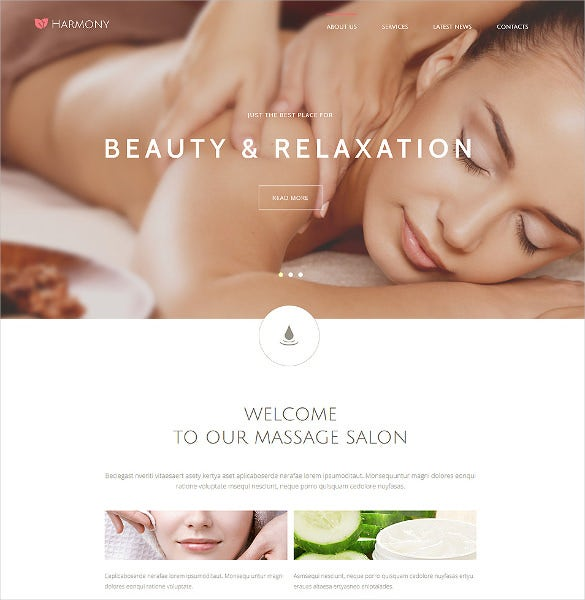harmony massage salon joomla php template