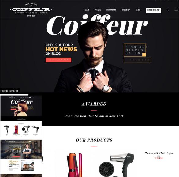 coiffeur hair salon wordpress php theme