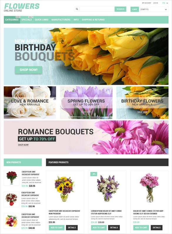 free online flowers store zencart php theme