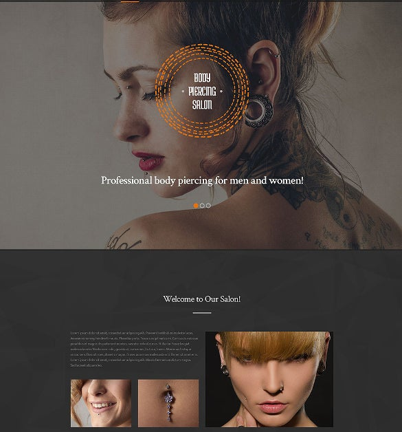 body piercing salon website template