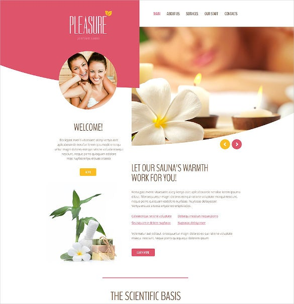 pleasure massage salon website template