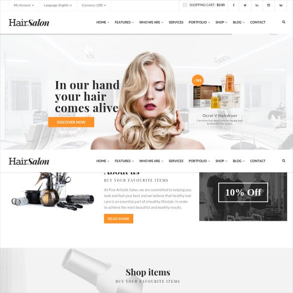 hair salon a barber website theme