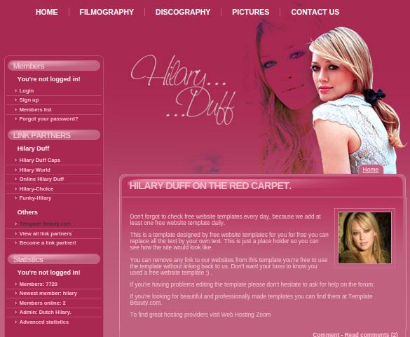 hilary duff free salon webiste template