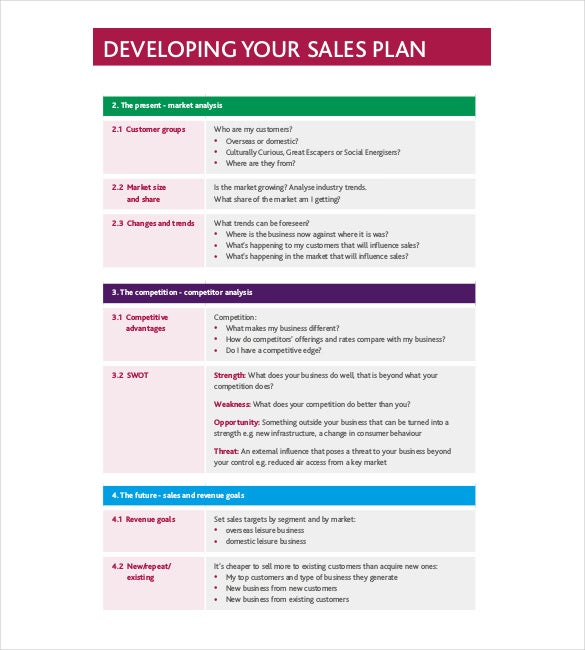 Sales Plan Pdf. Sample Sales Plan Template Free Documents In Pdf Rtf ...