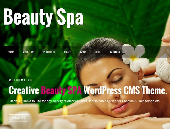 beauty spa creative website cms theme