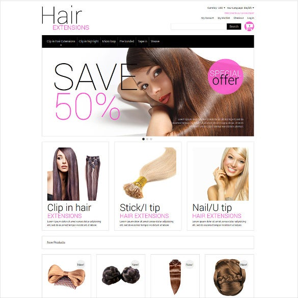 multipurpose hair extensions salon magento theme