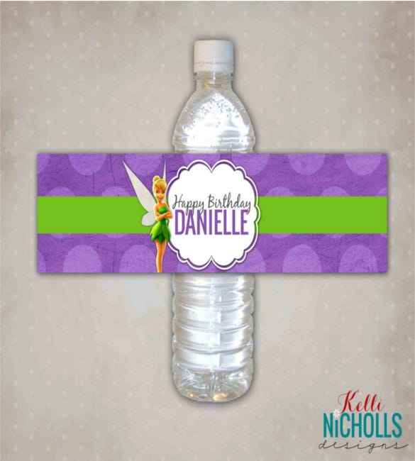 tinkerbell water bottle label