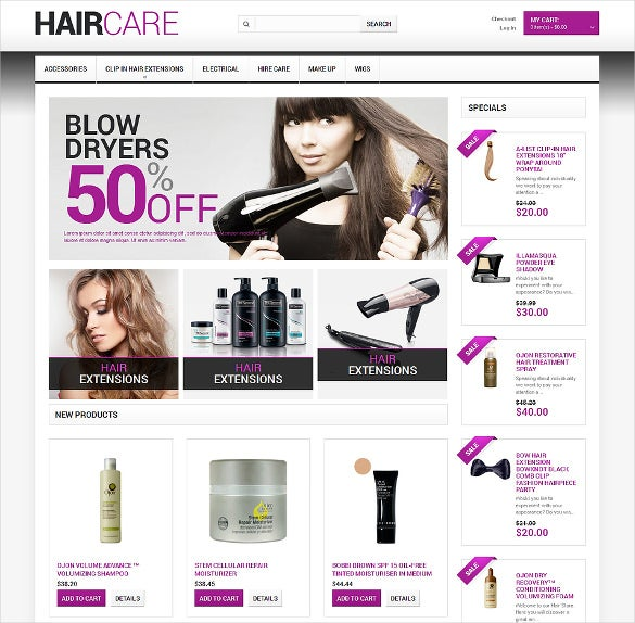hairdressers salon magento theme