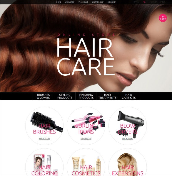 hair care salon opencart template