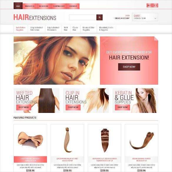 long hair salon opencart template