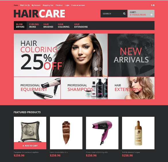 responsive hair care salon opencart template