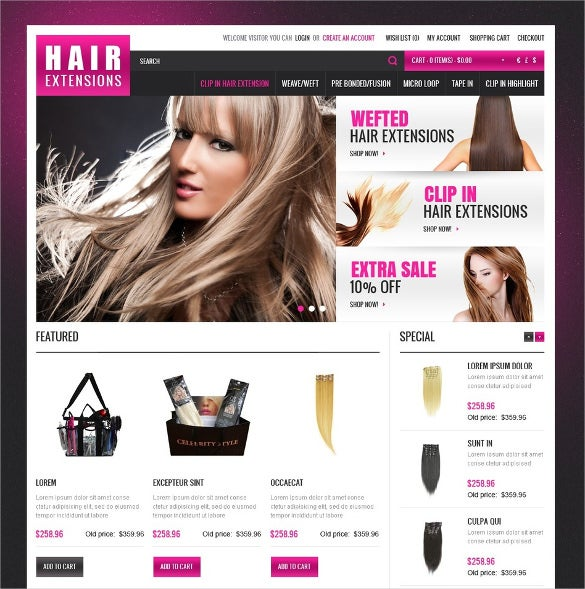 hair extensions salon opencart template