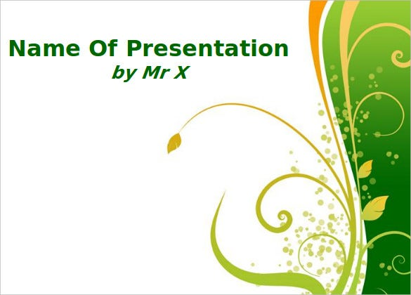 green floral powerpoint background template