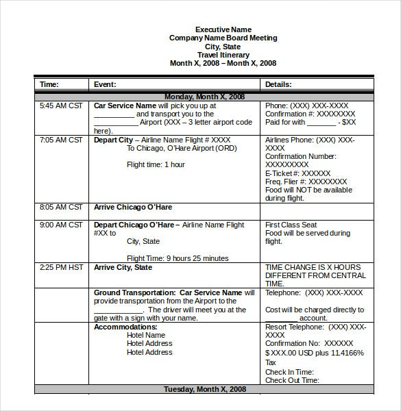 itinerary template  u2013 14  free word  excel  pdf documents
