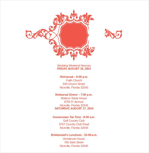royal coral wedding itinerary template