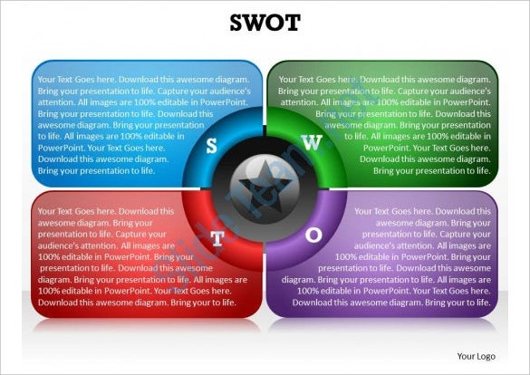 swot framework powerpoint diagram template