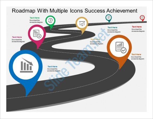 roadmap with multiple achievement flat powerpoint design