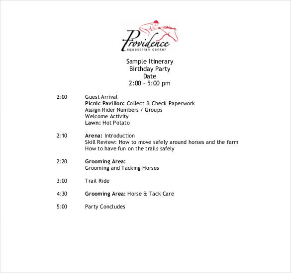 sample birthday itinerary template