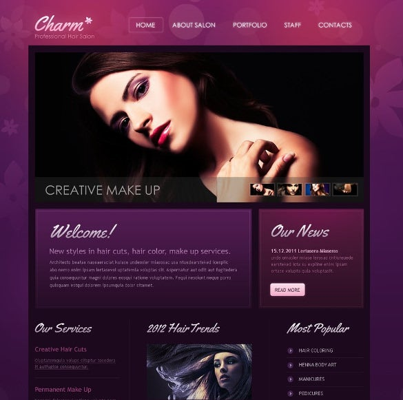 fantastic hair salon psd template