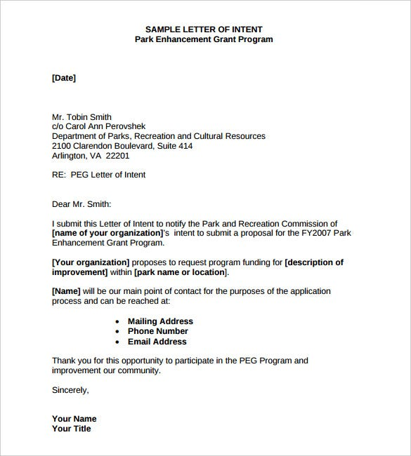 Park Enhancement Letter Of Intent Template PDF