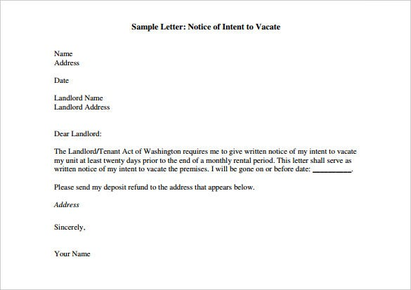 Awesome Sample Letter Notice Of Intent To Vacate PDF Format