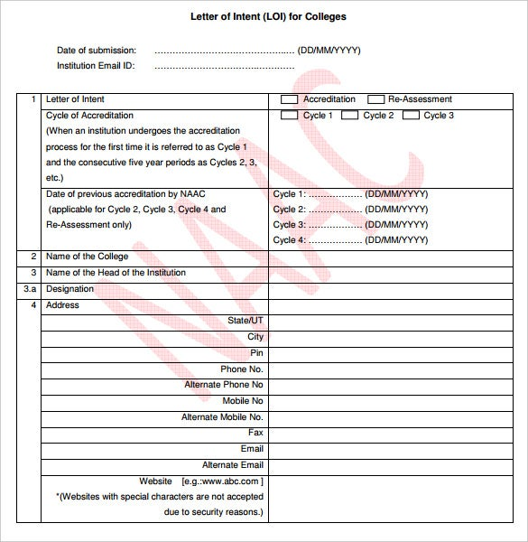 printable blank letter of intent for college